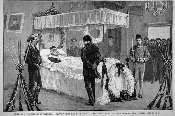 The Funeral of Garibaldi at Caprera: The Body Lying in State, from 'The Illustrated London News', 17th June 1882