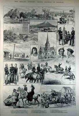 New Zealand Sketches: Native Troubles in Taranaki, from 'The Illustrated London News', 28th January 1882