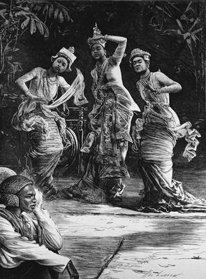 Burmese Ballet Girls as They Performed Before the Viceroy of India at Rangoon, from 'The Illustrated London News', 18th February 1882