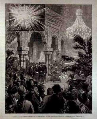 International Electric Exhibition at the Crystal Palace: Great Chandelier in the Alhambra Court, from 'The Illustrated London News', 4th March 1882