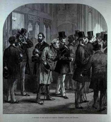 A Division in the House of Commons: Members Passing the Tellers, from 'The Illustrated London News', 18th February 1882