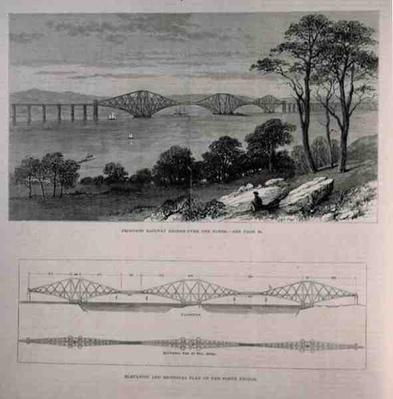 Elevation and Sectional Plan of the Forth Bridge, Edinburgh, from 'The Illustrated London News', 28th January 1882