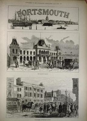 Portsmouth: The Railway Station and the High Street, Government House, from 'The Illustrated London News', 8th April 1882