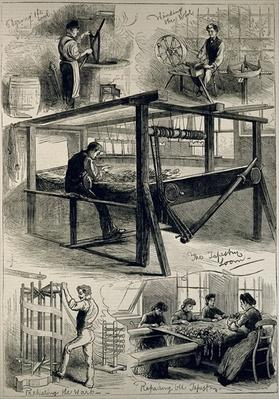 Sketches of the Royal Tapestry Manufactory at Windsor, from 'The Illustrated London News', 29th April 1882