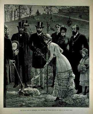 The Royal Visit to Leicester: The Princess of Wales Planting an Oak in the Abbey Park, from 'The Illustrated London News', 10th June 1882