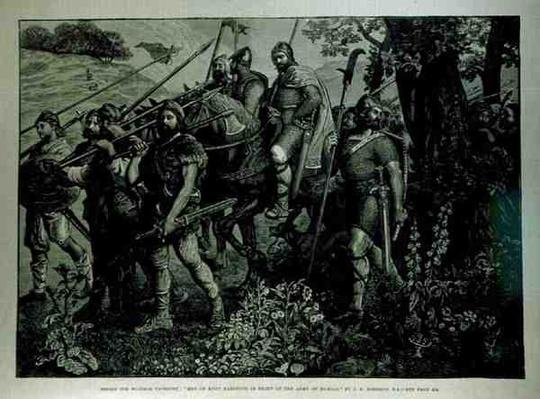 Design for Windsor Tapestry: 'Men of Kent Marching in Front of the Army of Harold', from 'The Illustrated London News', 29th April 1882