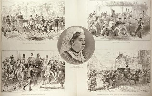 Illustrations of Attacks on Queen Victoria, from 'The Illustrated London News', 11th March 1882