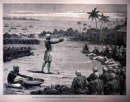 The Sailor Princes at the Fiji Islands: Incantation of the Yangona, or Kava Bowl, from 'The Illustrated London News', 7th January 1882