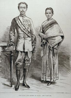 The King and Queen of Siam, from 'The Illustrated London News', 17th June 1882