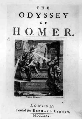 Title page for 'The Odyssey' by Homer, engraved by Pierre Fourdrinier