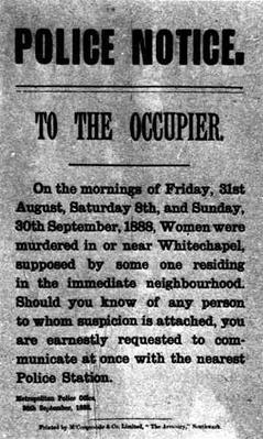 Police Notice to the Occupier Relating to Murders in Whitechapel, 30th September 1888