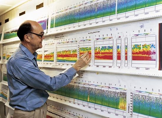 A researcher at Langley Research Center reviews data | Weather