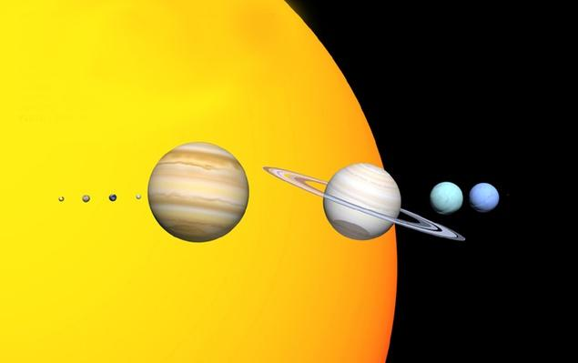 This diagram shows the relative size of the eight planets to the sun | Earth and Space
