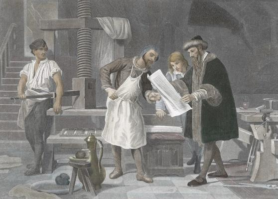 Johannes Gutenberg (1400-1468) in his workshop | Pre-Industrial Revolution Inventors and Inventions