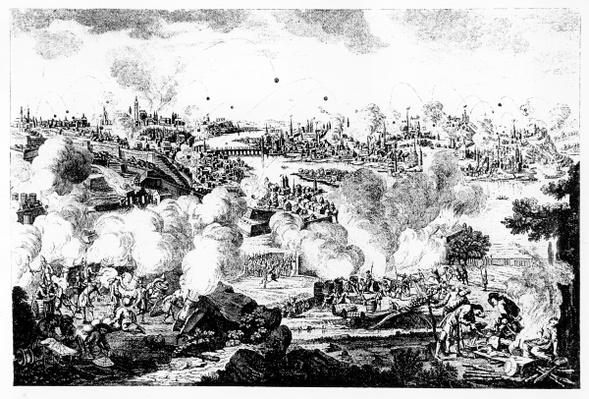 Bombardment of Prague During the Night of 29th and 30th May 1757, engraved by P. Benazech