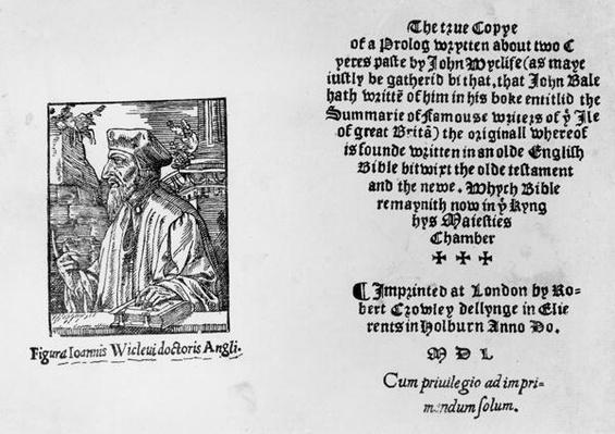 Frontispiece of 'The Summarie of Famouse Writers of the Ile of Great Brita' depicting John Wycliffe
