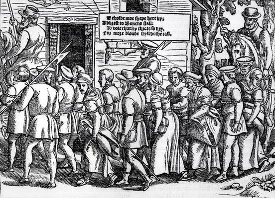Protestants, roped together, being led to London for trial, from 'Acts and Monuments' by John Foxe