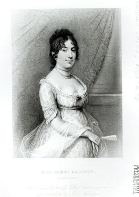 Mrs James Madison, Dolley Payne (1768-1849), c.1804-55 (engraving) by Stuart, Gilbert (1755-1828) (after)