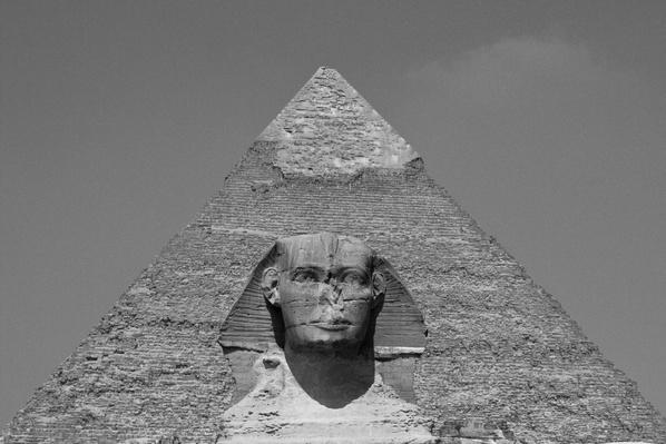 Great Sphinx of Giza against Khafra Pyramid, Cairo, Egypt | Wonders of the World