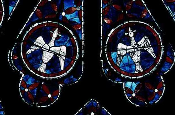 Two doves detail from the north rose window, c.1223