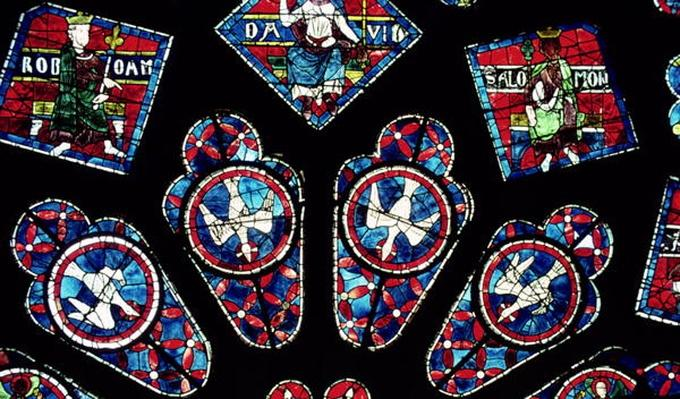 Four doves, detail from the north rose window, c.1223
