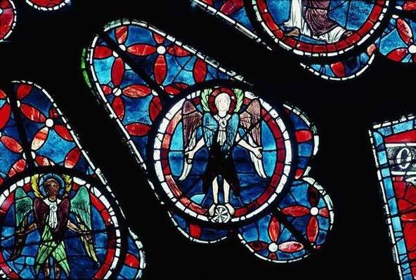 Cherubim on wheel, detail from north rose window, c.1223