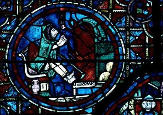Pisces, from the zodiac window, 13th century
