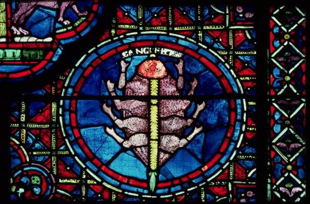 Cancer, from the Zodiac Window, 13th century