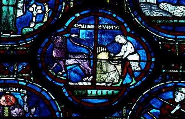 Leo and July, from the Zodiac Window, 13th century