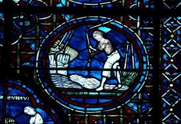 August, from the Zodiac Window, 13th century
