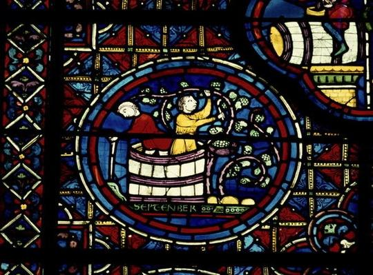 September, from the Zodiac Window, 13th century