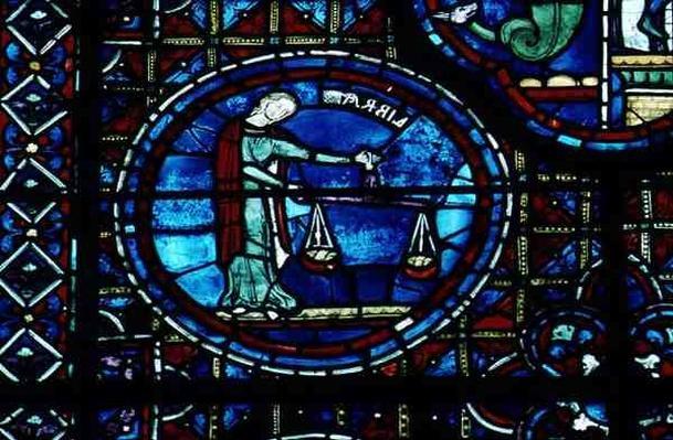Libra, from the Zodiac Window, 13th century
