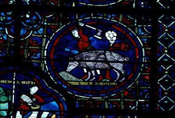 December, from the Zodiac Window, 13th century