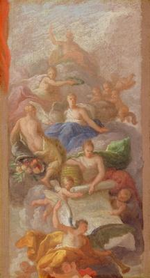 A Sketch of Gratitude Crowned by Peace, with Other Allegorical Figures of Industry, Fame and Plenty, c.1712-13