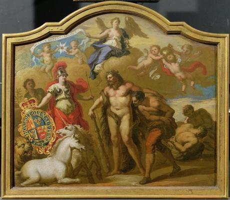 Allegory of the Power of Great Britain by Land, design for a decorative panel for George I's ceremonial coach, c.1718