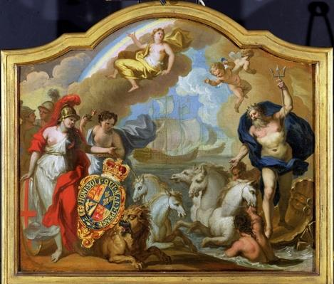 Allegory of the Power of Great Britain by Sea, design for a decorative panel for George I's ceremonial coach, c.1720