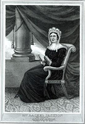 Mrs Rachel Jackson, pub. by Joseph How, c.1850-1900 (engraving) (b/w photo) by American School, (19th century)