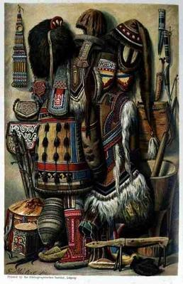 Implements, Vessels and Costume of Northern Races, from 'The History of Mankind' by Prof. Friedrich Ratzel, pub. in 1904