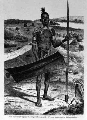 Shuli Warrior Fully Equipped: Village in Background, from 'The History of Mankind' by Prof. Friedrich Ratzel, pub. in 1904