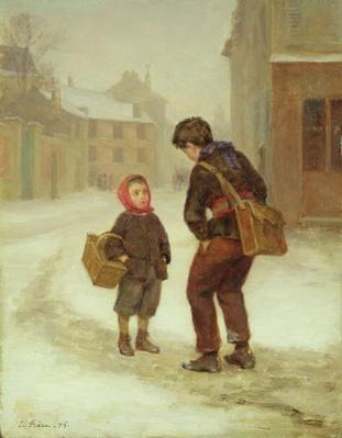 On the way to school in the snow, 1879