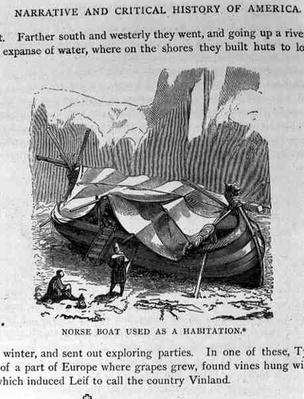 Norse Boat Used as A Habitation, from 'Narrative and Critical History of America', pub. in 1889