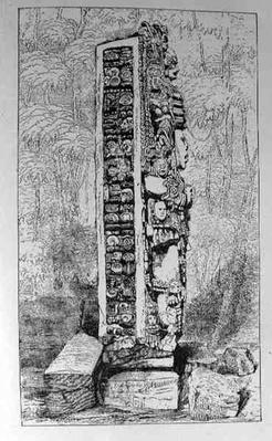 Representation of Mayan Hieroglyphics on a Stele, from 'Narrative and Critical History of America', pub. in 1889