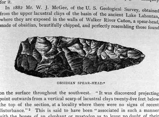 Obsidian Spear Head, found in the Lahontan Sediments, from 'Narrative and Critical History of America', pub. in 1889