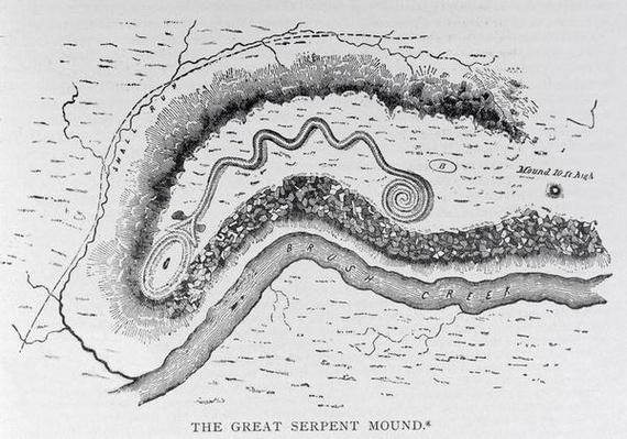 The Great Serpent Mound, near Locust Grove, Ohio, 2nd century BC, from 'Narrative and Critical History of America', pub. in 1889