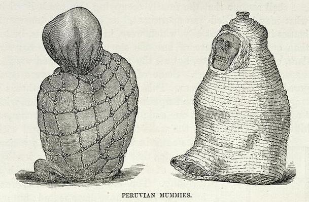 Peruvian Mummies, from 'Incidents of Travel and Exploration in the Land of the Incas' by E. George Squier, pub. in 1878