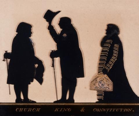 Silhouette entitled 'Church, King and Constitution', c.1793