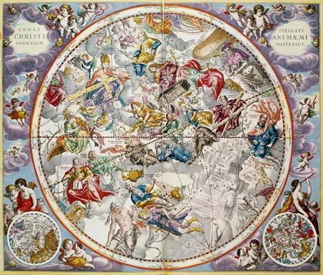 Map of the Christian Constellations as depicted by Julius Schiller, from 'The Celestial Atlas, or The Harmony of the Universe'