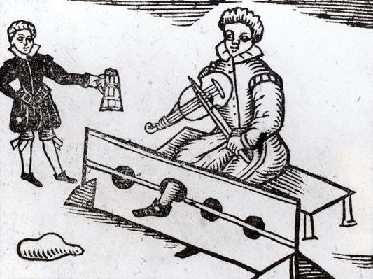 A Purse Snatcher in the Stocks, illustration from an Elizabethan ballad