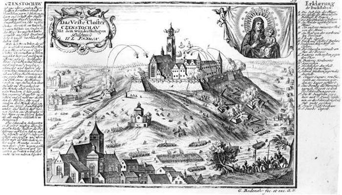 The monastery of Jasna Gora, Czestochowa, under siege by Swedish forces in 1655