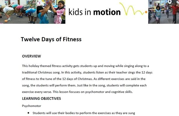 Twelve Days of Fitness Lesson Plan